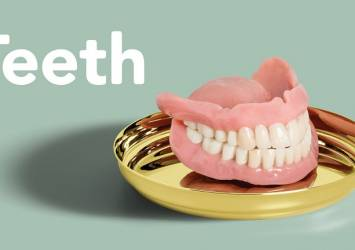 false teeth on plate